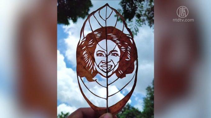 因新冠病毒疫情丢工作 23岁菲律宾女子树叶画爱好变职业
