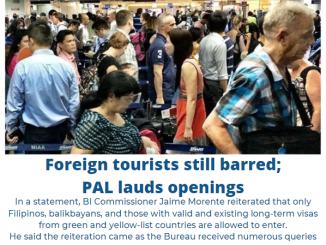 菲移民局BI表示外國觀光旅客仍禁止入境菲